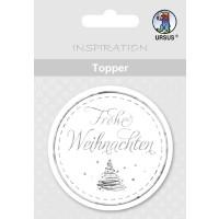 """Topper """"Frohe Weihnachten"""" weiß/silber - Motiv 12"""