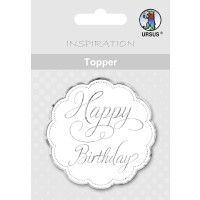 "Topper ""Happy Birthday"" weiß/silber - Motiv 02"