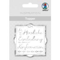 """Topper """"Herzliche Einladung zu meiner Konfirmation"""" weiß/silber - Motiv 25"""