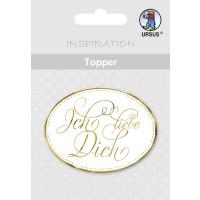 """Topper """"Ich Liebe Dich"""" weiß/gold - Motiv 01"""