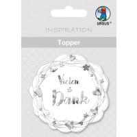"""Topper """"Vielen Dank"""" weiß/silber - Motiv 21"""