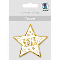 """Topper """"Weihnachtsstern"""" weiß/gold - Motiv 34"""