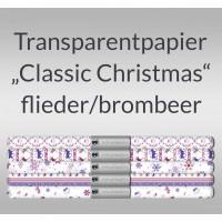 """Transparentpapier """"Classic Christmas"""" flieder/brombeer 50 x 61 cm - 5 Bogen sortiert"""