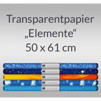 "Transparentpapier ""Elemente"" 50 x 61 cm - 5 Rollen sortiert"