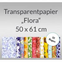 """Transparentpapier """"Flora"""" 50 x 61 cm - 10 Bogen"""