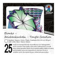 """Zeichenkacheln """"Tangle Creation"""" Quadrat 9 x 9 cm hochweiß - 25 Kacheln mit Box"""