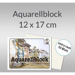 Aquarellblock extra rauh 250 g/qm 12 x 17 cm