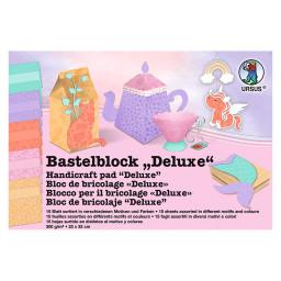 Bastelblock Deluxe 23 x 33 cm, 15 Blatt Sortiert in verschiedenen Motiven und Farben, 300 g/qm