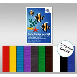 Bastelkartonblock 220 g/qm DIN A4 - 10 Blatt sortiert