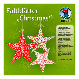 Faltblätter Christmas 15 x 15 cm - 120 Blatt in 10 Designs