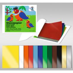 Glanzpapier 20 x 30 cm, bunt sortiert, 12 Bögen sortiert