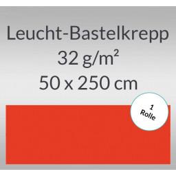 Leucht-Bastelkrepp 32 g/qm 0,5 x 2,5 m leuchtrot - 1 Rolle
