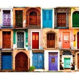 Motiv-Fotokarton 49,5 x 68 cm Alte Türen