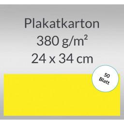 Plakatkarton 380 g/qm 24 x 34 cm citronengelb - 50 Blatt
