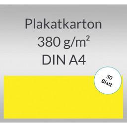 Plakatkarton 380 g/qm DIN A4 citronengelb - 50 Blatt