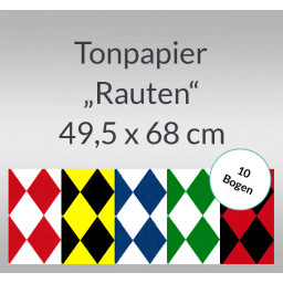 Rauten-Tonzeichenpapier 130 g/qm 49,5 x 68 cm - 10 Bogen
