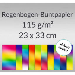 Regenbogen-Buntpapier 115 g/qm 23 x 33 cm - 10 Blatt sortiert