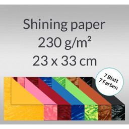 Shining paper 23 x 33 cm - 7 Blatt sortiert