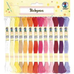 Stickgarn aus 100% Baumwolle, 52 Docken á 8 m sortiert in 26 Farben