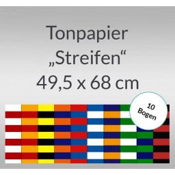 Streifen-Tonzeichenpapier 130 g/qm 49,5 x 68 cm - 10 Bogen