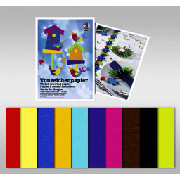 Tonzeichenpapier 130 g/qm 23 x 33 cm - 10 Blatt sortiert