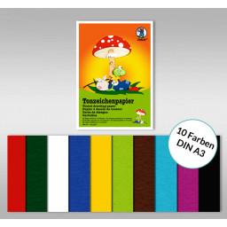 Tonzeichenpapierblock 130 g/qm DIN A3 - 10 Blatt sortiert