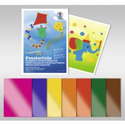 Transparente farbige Fensterfolie 23 x 33 cm - 7 Blatt sortiert