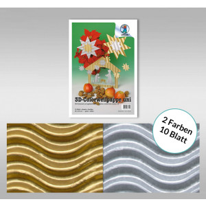 3D-Colorwellpappe 260 g/qm 23 x 33 cm - 10 Blatt sortiert in gold und silber