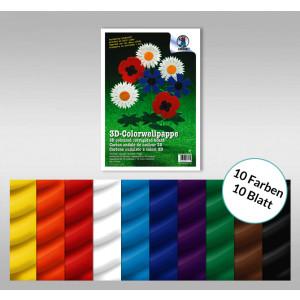 3D-Colorwellpappe 260 g/qm 23 x 33 cm - 10 Blatt sortiert