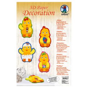 """3D Paper Decoration """"Küken"""""""