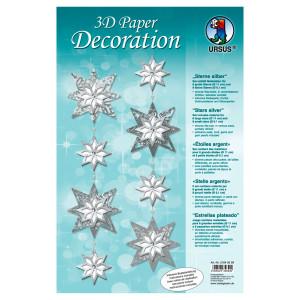 """3D Paper Decoration """"Sterne"""" silber"""