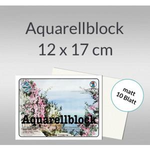 Aquarellblock matt 200 g/qm 12 x 17 cm