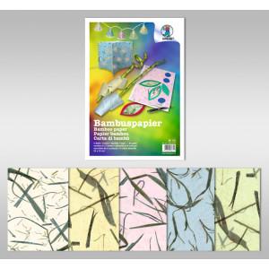 Bambuspapier 35 g/qm 50 x 70 cm - 10 Bogen sortiert in 5 Farben