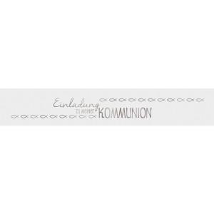 """Banderolen """"Einladung zu meiner Kommunion"""" weiß/silber - Motiv 10"""