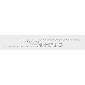 """Banderolen """"Einladung zu meiner Konfirmation"""" weiß/silber - Motiv 09"""