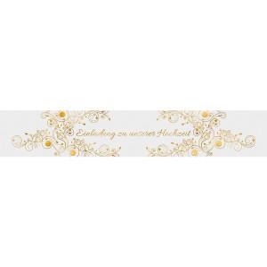 """Banderolen """"Einladung zu unserer Hochzeit"""" weiß/gold - Motiv 08"""