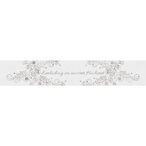 """Banderolen """"Einladung zu unserer Hochzeit"""" weiss/silber - Motiv 08"""