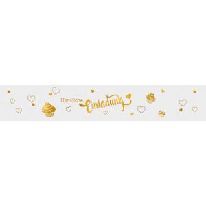"""Banderolen """"Herzliche Einladung"""" weiß/gold - Motiv 01"""