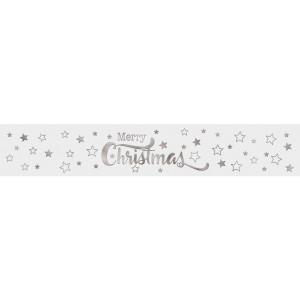 """Banderolen """"Merry Christmas"""" weiss/silber - Motiv 12"""