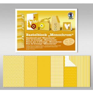 "Bastelblock ""Monochrom"" 24 x 34 cm gelb - 18 Blatt"