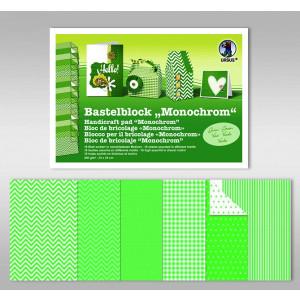 """Bastelblock """"Monochrom"""" 24 x 34 cm grün - 18 Blatt"""