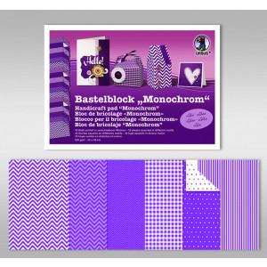 "Bastelblock ""Monochrom"" 24 x 34 cm lila - 18 Blatt"