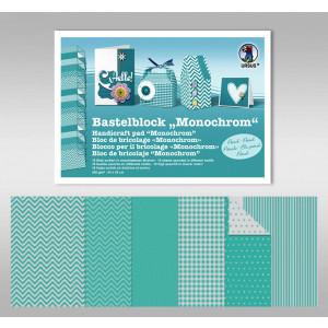 "Bastelblock ""Monochrom"" 24 x 34 cm petrol - 18 Blatt"