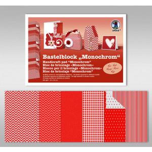 "Bastelblock ""Monochrom"" 24 x 34 cm rot - 18 Blatt"