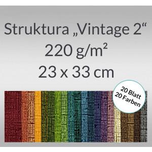 "Bastelblock Struktura ""Vintage 2"" 23 x 33 cm - 20 Farben"