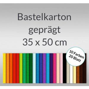 Bastelkarton 220 g/qm 35 x 50 cm - 20 Blatt in 10 Farben