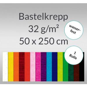 """Bastelkrepp """"wasserfest"""" 32 g/qm 50 cm x 2,5 m - 1 Rolle"""