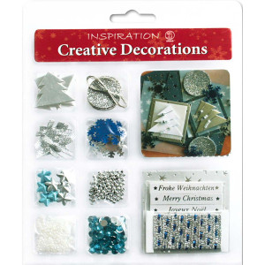 "Creative Decorations ""Christmas"" silber/blau"