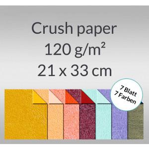 Crush paper 120 g/qm 21 x 33 cm - 7 Blatt sortiert