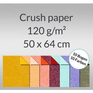 Crush paper 120 g/qm 50 x 64 cm - 10 Bogen sortiert